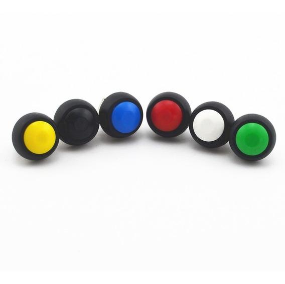 Push Button 12mm Normalmente Abierto Curvo Sin Bloqueo
