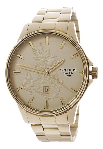 Relógio Seculus Masculino Long Life Com Colar São Jorge24986