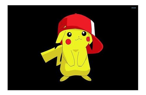 Imagem 1 de 8 de Adesivo Papel De Parede Infantil Pokemon Ash Pikachu 4m²
