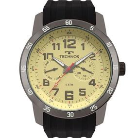 Relógio Technos Masculino Preto Prata Original Nf 6p25bv/8b
