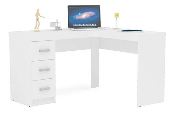 Mesa De Escritório Fenix 3 Gavetas Branca