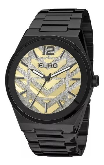 Relógio Euro Feminino New Glitz Preto - Eu2036lzp/4d