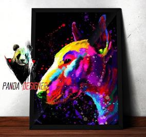 Quadro Bull Terrier Cachorro Decoração Pet Dog 45x35 C Vidro