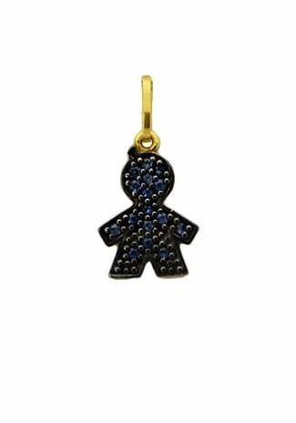 Menino De Ouro 18k/750 Pedras Naturais Safiras Azul Escuro