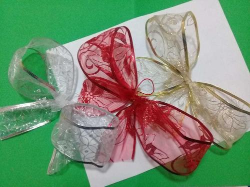 Imagen 1 de 4 de Moños Para Árbol De Navidad. Paquete De 12