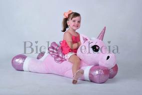 Unicórnio Pelúcia Gigante Bebê Fofinho Rosa 115cm