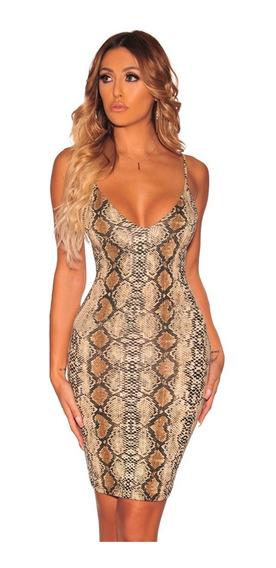 Sexy Vestido Animal Print Serpiente Snake Moderno 611120
