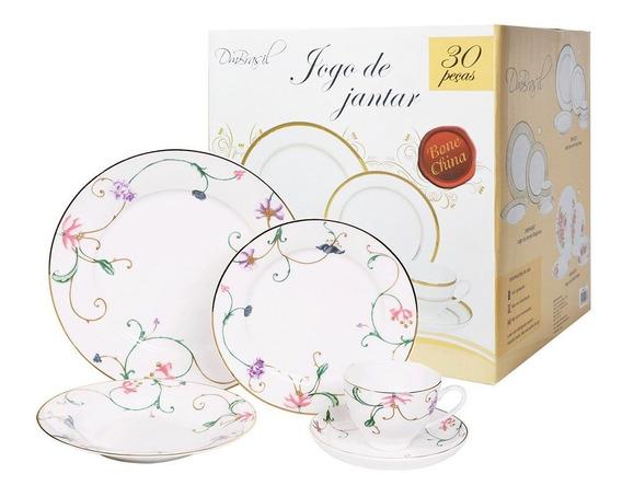 Jogo De Jantar 30 Pecas Porcelana Cozinha Prato Xicara Pires