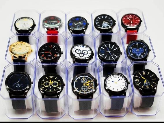 Kit 10 Relógios Atacado + 10 Cases + 10 Baterias - Revenda
