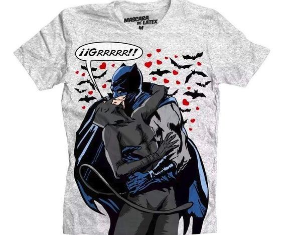Playera Batman Y Gatubela Mascara De Latex. Precio Rebajado
