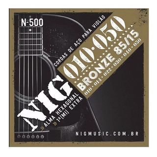 Encordoamento Nig Cordas Violão Aço 010 050 N500 N-500