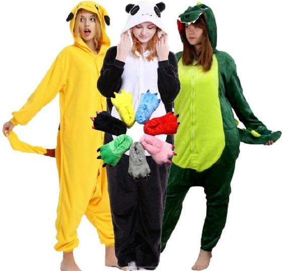 Kit Pijama E Pantufa Panda Pikachu Dinossauro Kigurumi