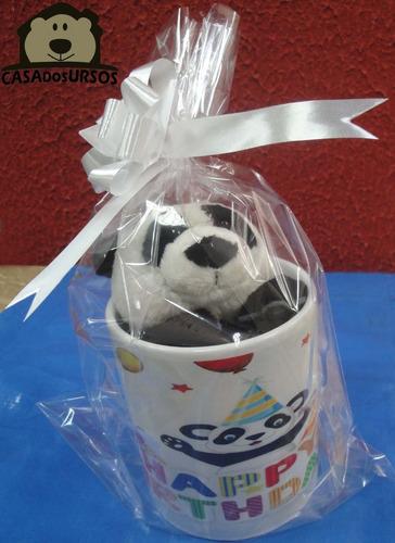 Imagem 1 de 6 de Presente Caneca + Urso Panda Pelúcia Parabéns Aniversário