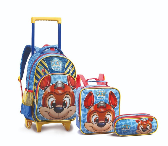 Kit Mochila Escolar Infantil Com Rodas Kt14001 Pet Heroes
