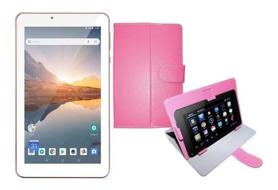 Tablet Multilaser Rosa 16gb Tela 7 Ips Wifi M7s + Case Rosa
