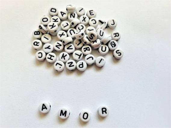 Mini Lote Lunetas Plásticas Con Letras Para Pulseras