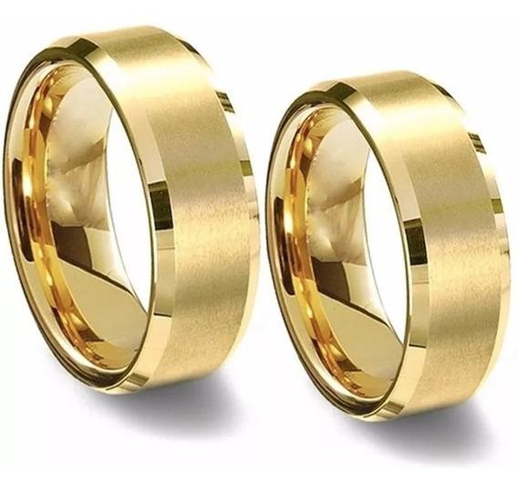 Alianças Baratas Casamento Noivado Namoro Compromisso Chanfrada Aço Cirúrgico Inox 8mm Banhada Ouro 18k Caixinha Veludo