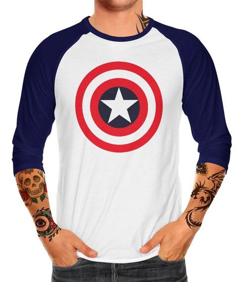 Envío Gratis Playera Raglan Caballero Capitán América Mod. 2