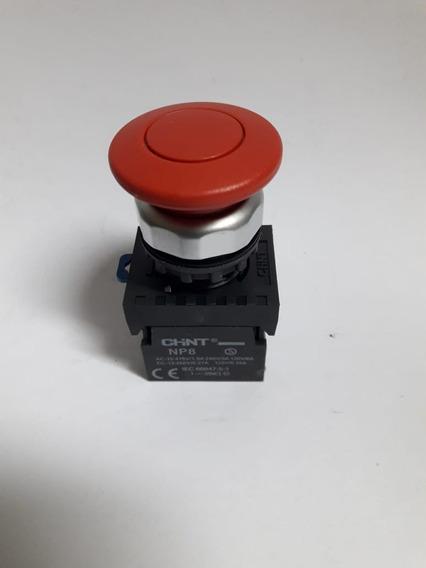Botão Pulsador Plastico Vermelh Cogumelo 40mm 1nf Np8-01m/14