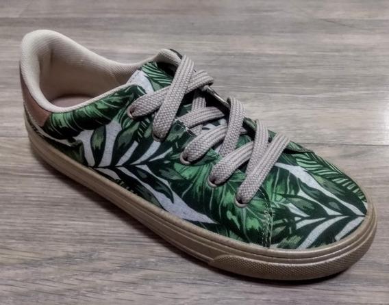 Tênis Beira Rio Estampado Floral Verde