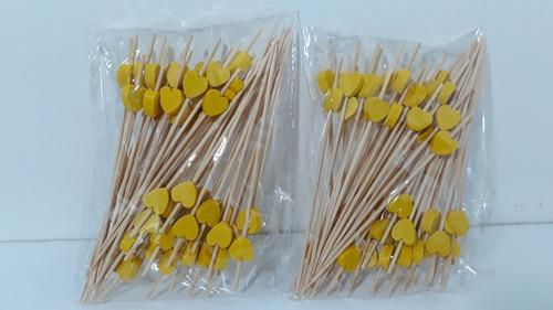 100 Espeto Enfeite Coração Amarelo 12cm Lanche Evento Petisc