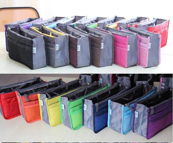 Excelente Organizador De Cartera Bolso Negro Azul Violeta