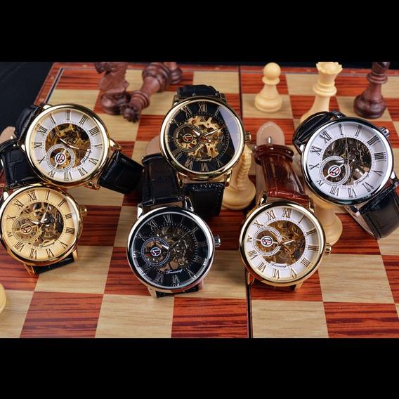 Reloj Forsining Mecánico Piel Mayoreo 5 Piezas