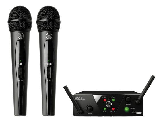 Microfone Duplo S/fio Akg Wms 40 Mini 2 Vocal Garantia 1 Ano