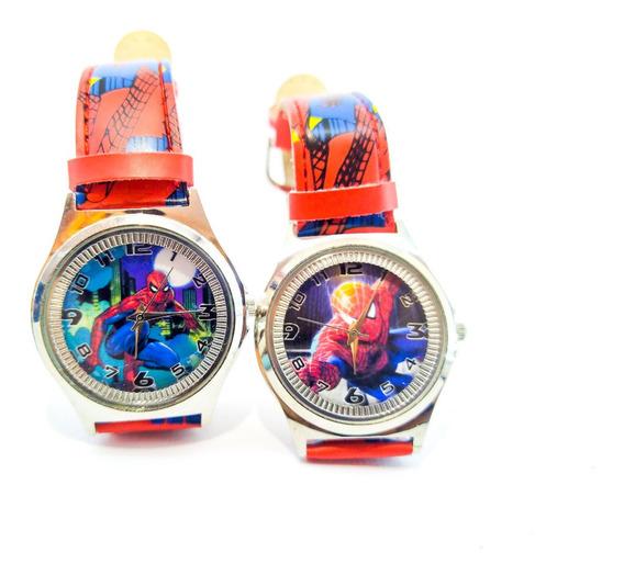 Relógio Infantil Disney Spider Man Aço + Pulceira Couro