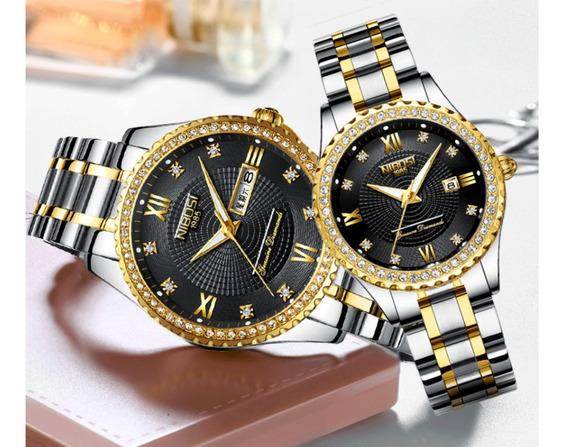 Relógio Nibosi Feminino Original Dourado A Prova D