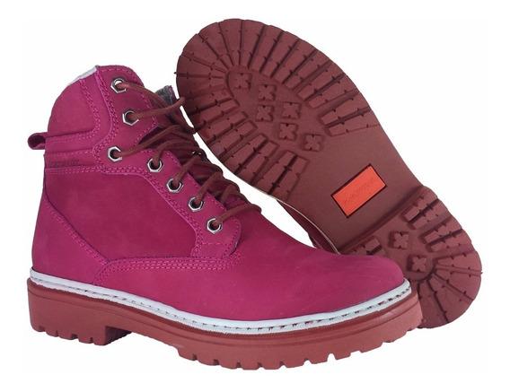 Bota Coturno Feminina Promoção Gogowear Alexa Rosa Escuro