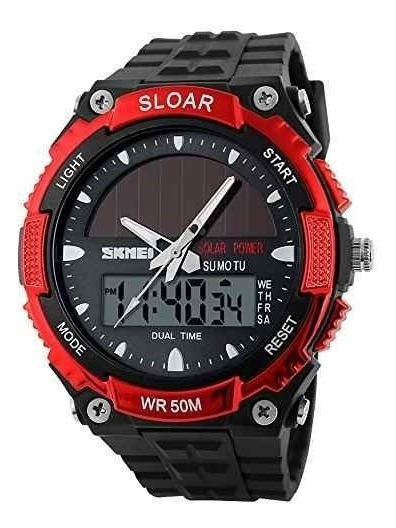 Reloj Skmei 1049 Rojo Solar Tipo Militar Sumergible 50m
