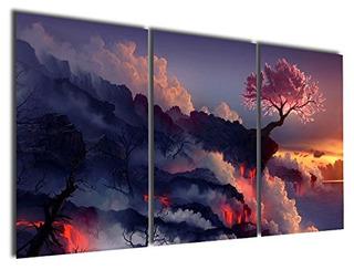 Arte De Pared Gardenia Art Arbol En Volcán 16x24