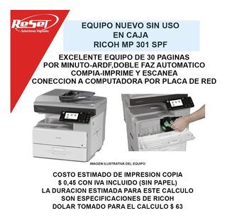 Impresora Fotocopiadora Ricoh Mp 301 Spf +6 Cuotas+envio