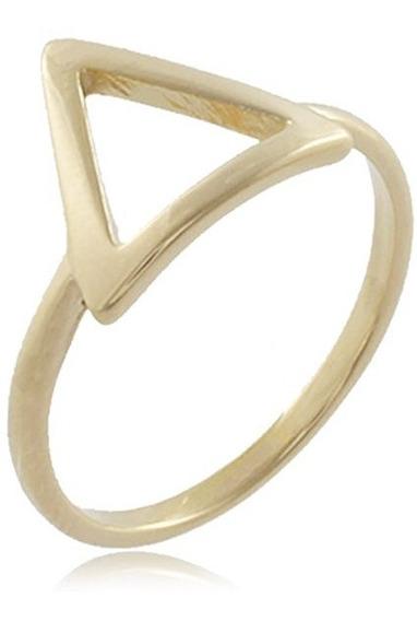 Anel Triângulo Vazado Folheado Ouro 18k - Não Perca