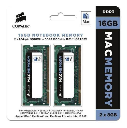 Memória Notebook 16gb/1600 Kit(2x8) Ddr3 Mac Corsair Lacrada