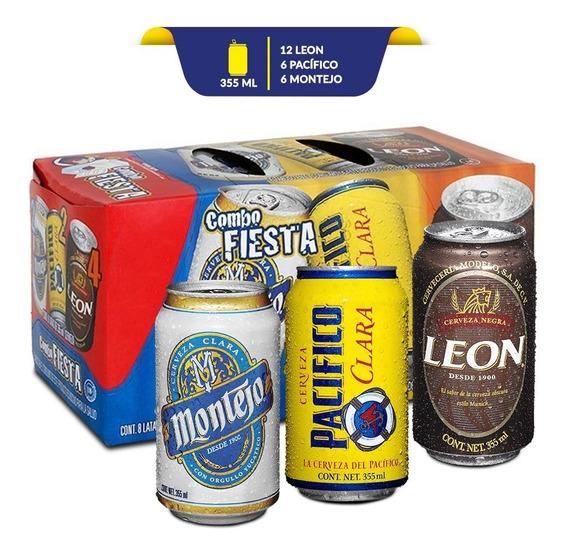 Cerveza Combo Fiesta: León, Pacifico Y Montejo De 24 Latas