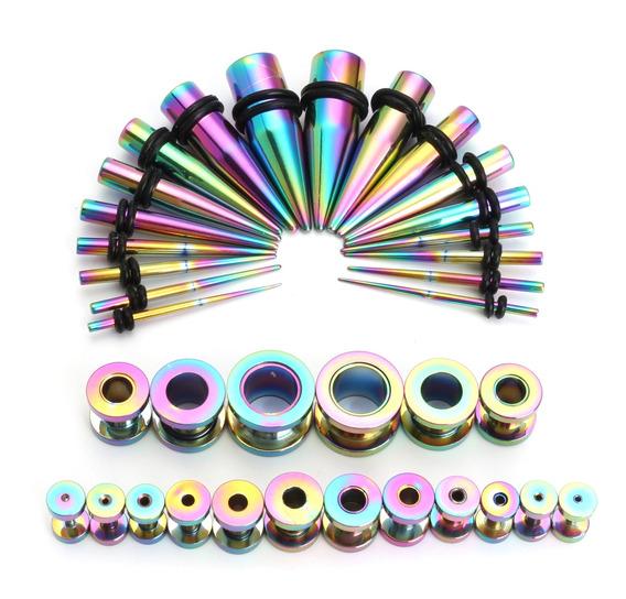 36 Pcs Taper Kit Aço Arco-íris 14g-00g Tapers+plugs Punk Pie