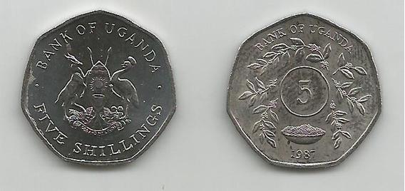 Moneda Uganda 5 Sh. 1987 S/c