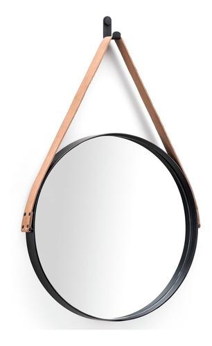 Espelho Redondo Decorativo Adnet Alça Couro 33cm Parede