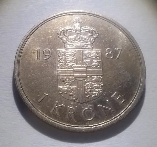 Dinamarca Moneda De 1 Corona 1987 - Km#862