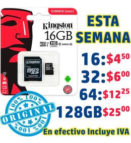 Memoria Micro Sd Kingston 16gb $4.50 Clase 10 Original Promo