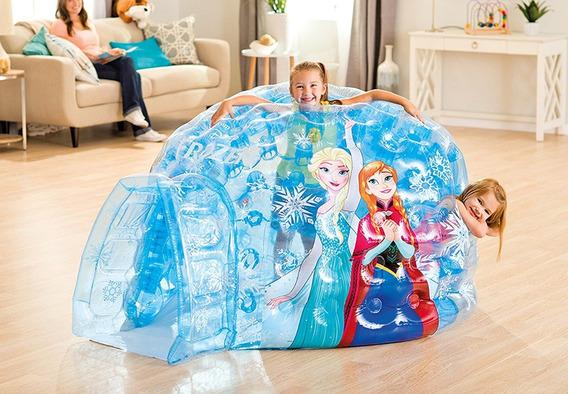 Inflable Frozen Azul Iglu Con Pelotas Elsa Anna Envio Gratis