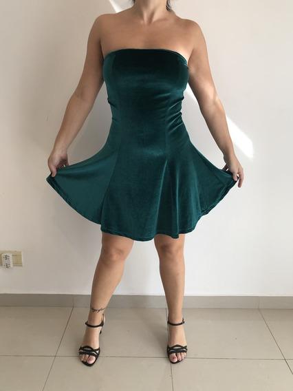 Vestido Corto Verde Oscuro Tela Velvet T2