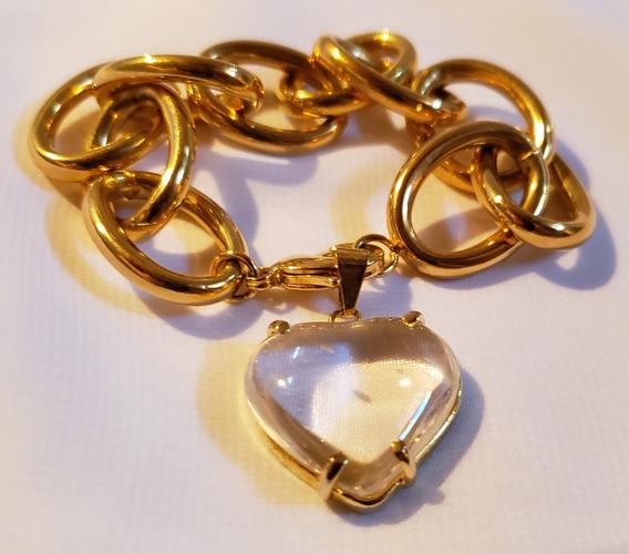 Pulseira Dourada Com Coração.