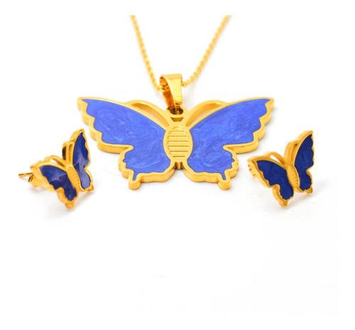 Imagen 1 de 4 de Kit Cadena Dije Y Aretes Mariposas Azules Esmaltadas Acero.