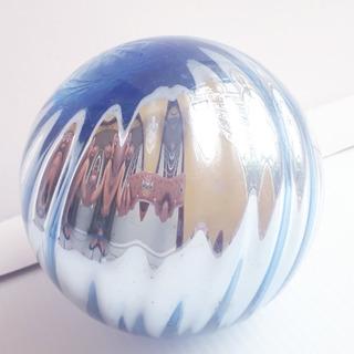 Esfera Vidrio Soplado Cromado Azul Artesanía Mexicana 16 Cm