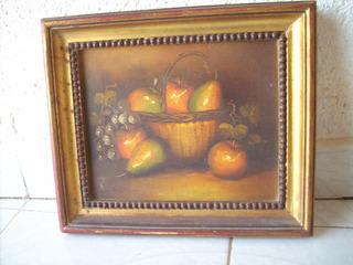 Antiguo Cuadro Decorativo Con Frutero