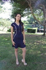 Vestido Azul Caneta Com Detalhe Em Zipper