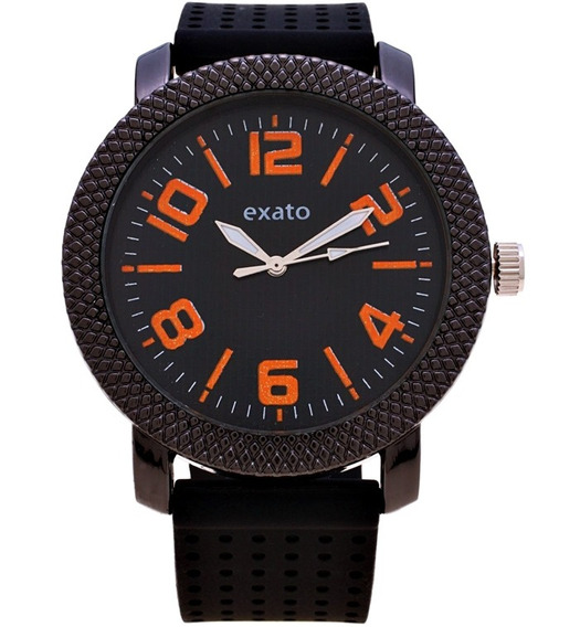 Relógio Masculino Exato Preto Barato Esportivo Laranja